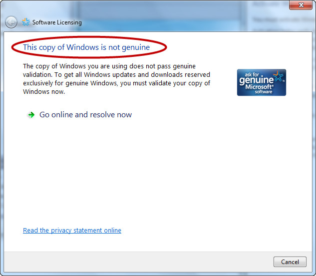 something interesting happened. quot;This copy of Windows is not genuine