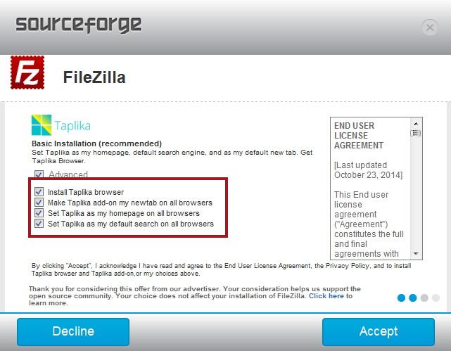 filezilla contains virus